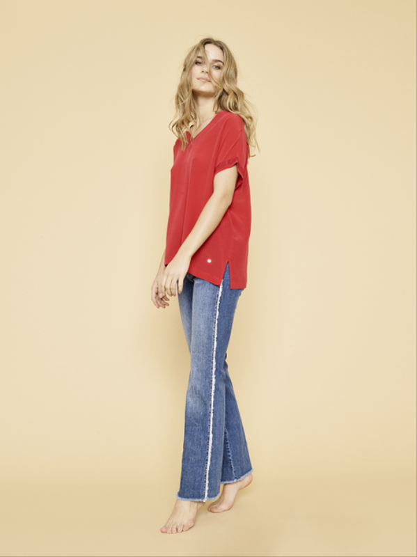 BLOUSE ROCCOCO RED BELLE SILK TEE MOS MOSH