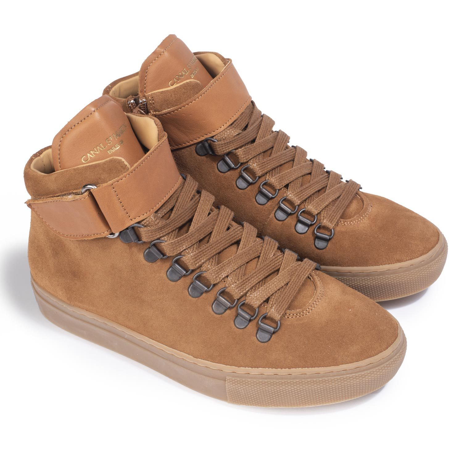 SNEAKERS FERRY VELOURS VEAU CAMEL