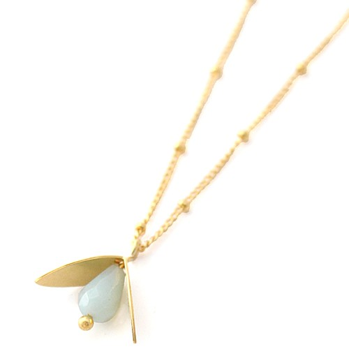 COLLIER FLORE LUCIE SAINT LEU AMAZONITE ( BLEU CLAIR )
