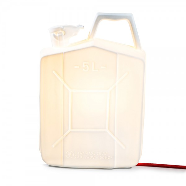 LAMPE JERRYCAN PORCELAINE BLANCHE